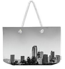 Los Angeles Skyline - B And W Weekender Tote Bag by Gene Parks