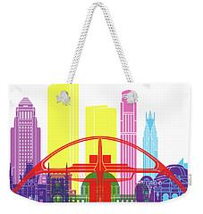 Los Angeles Skyline Pop Weekender Tote Bag by Pablo Romero