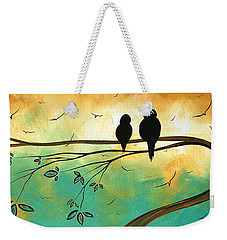 Love Birds By Madart Weekender Tote Bag by Megan Duncanson