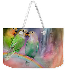 Love On A Rainbow Weekender Tote Bag by Carol Cavalaris