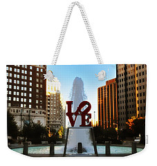 Love Park - Love Conquers All Weekender Tote Bag by Bill Cannon