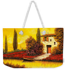 Lungo Il Fiume Tra I Papaveri Weekender Tote Bag by Guido Borelli