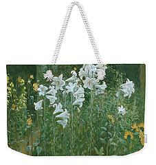 Madonna Lilies In A Garden Weekender Tote Bag by Walter Crane