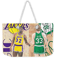 Magic Johnson And Larry Bird Weekender Tote Bag by Chris Brown
