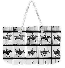 Man And Horse Jumping Weekender Tote Bag by Eadweard Muybridge