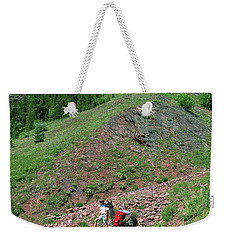 Man Hiking With Llama High Alpine Mountain Trail Weekender Tote Bag by Jerry Voss