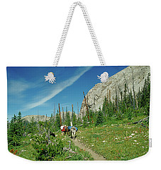 Man Hiking With Two Llamas High Alpine Mountain Trail Weekender Tote Bag by Jerry Voss