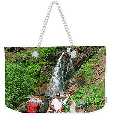 Man Posing With Two Llamas Mountain Waterfall Weekender Tote Bag by Jerry Voss