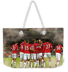 Manchester United  In Action  Weekender Tote Bag by Don Kuing