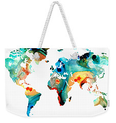 Map Of The World 11 -colorful Abstract Art Weekender Tote Bag by Sharon Cummings