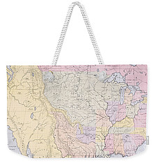 Map Showing The Localities Of The Indian Tribes Of The Us In 1833 Weekender Tote Bag by Thomas L McKenney and James Hall
