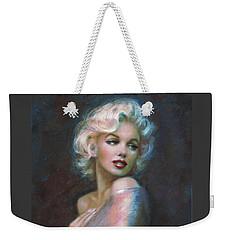 Marilyn Romantic Ww Dark Blue Weekender Tote Bag by Theo Danella