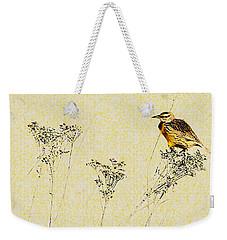 Meadowlark In Kansas Prairie 1 Weekender Tote Bag by Anna Louise