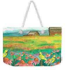 Meadowlarks Coneflower Field Weekender Tote Bag by Cathie Richardson