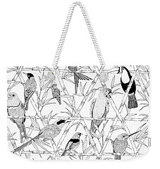 Menagerie Black And White Weekender Tote Bag by Jacqueline Colley