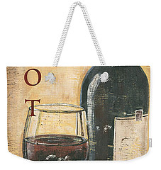 Merlot Wine And Grapes Weekender Tote Bag by Debbie DeWitt