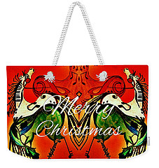 Merry Christmas Dancing Musical Horses Weekender Tote Bag by Scott D Van Osdol