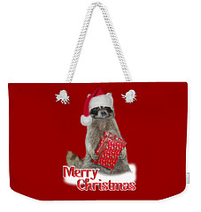 Merry Christmas -  Raccoon Weekender Tote Bag by Gravityx9 Designs