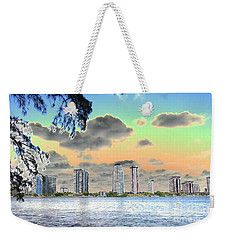 Miami Skyline Abstract Weekender Tote Bag by Christiane Schulze Art And Photography