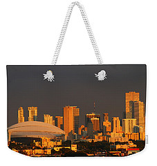 Miami Skyline At Sunset Weekender Tote Bag by Christiane Schulze Art And Photography