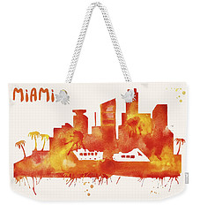 Miami Skyline Watercolor Poster - Cityscape Painting Artwork Weekender Tote Bag by Beautify My Walls