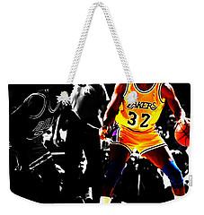 Michael Jordan And Magic Johnson Weekender Tote Bag by Brian Reaves