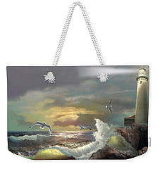Michigan Seul Choix Point Lighthouse With An Angry Sea Weekender Tote Bag by Regina Femrite