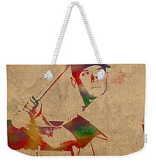 Mickey Mantle New York Yankees Baseball Player Watercolor Portrait On Distressed Worn Canvas Weekender Tote Bag by Design Turnpike