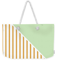 Mint And Gold Geometric Weekender Tote Bag by Linda Woods