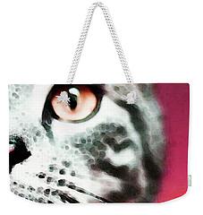Modern Cat Art - Zebra Weekender Tote Bag by Sharon Cummings