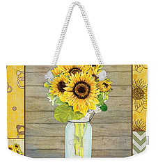 Modern Rustic Country Sunflowers In Mason Jar Weekender Tote Bag by Audrey Jeanne Roberts