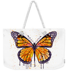 Monarch Butterfly Watercolor Weekender Tote Bag by Marian Voicu