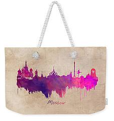 Moscow Russia Skyline Purple Weekender Tote Bag by Justyna JBJart