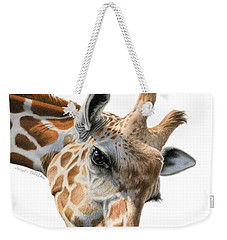 Mother And Baby Giraffe Weekender Tote Bag by Sarah Batalka