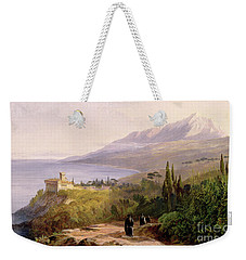 Mount Athos And The Monastery Of Stavroniketes Weekender Tote Bag by Edward Lear