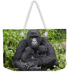 Mountain Gorilla Mother Holding 5 Month Weekender Tote Bag by Suzi Eszterhas