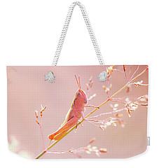 Mr Pink - Pink Grassshopper Weekender Tote Bag by Roeselien Raimond