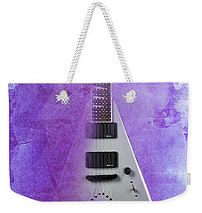 Mr Spock Inspirational Quote And Electric Guitar Purple Vintage Poster For Musicians And Trekkers Weekender Tote Bag by Pablo Franchi