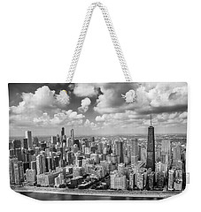 Near North Side And Gold Coast Black And White Weekender Tote Bag by Adam Romanowicz