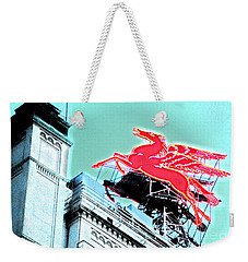 Neon Pegasus Atop Magnolia Building In Dallas Texas Weekender Tote Bag by Shawn O'Brien
