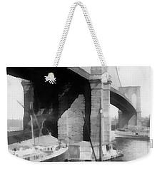 New York City Brooklyn Bridge Weekender Tote Bag by Edward Fielding