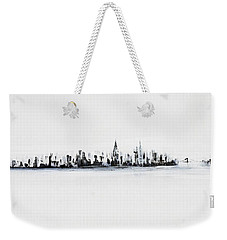 New York City Skyline Black And White Weekender Tote Bag by Jack Diamond
