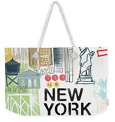 New York Cityscape- Art By Linda Woods Weekender Tote Bag by Linda Woods