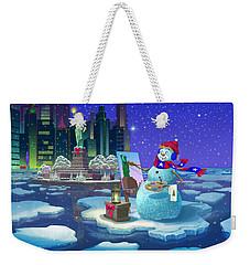 New York Snowman Weekender Tote Bag by Michael Humphries