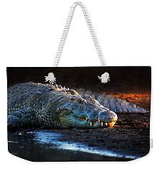 Nile Crocodile On Riverbank-1 Weekender Tote Bag by Johan Swanepoel