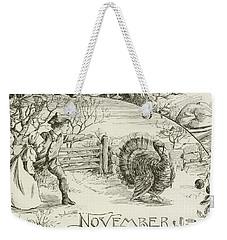 November   Vintage Thanksgiving Card Weekender Tote Bag by American School