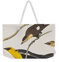 Nuttall's Starling Yellow-headed Troopial Bullock's Oriole Weekender Tote Bag by John James Audubon