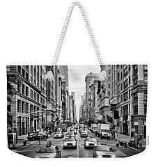 Nyc 5th Avenue Monochrome Weekender Tote Bag by Melanie Viola