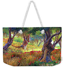 Olive Trees And Poppies, Tranquil Grove Weekender Tote Bag by Jane Small