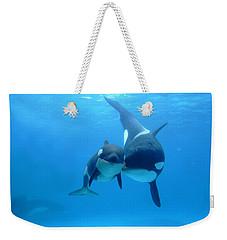 Orca Orcinus Orca Mother And Newborn Weekender Tote Bag by Hiroya Minakuchi